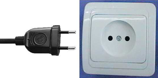 Электрическая вилка - розетка - тип C - CEE 7/16 (Europlug 2.5 A/250 V unearthed)