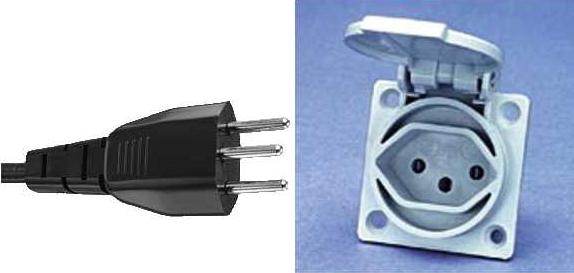 Электрическая вилка - розетка - тип J - SEV 1011 (Swiss 10 A/250 V)